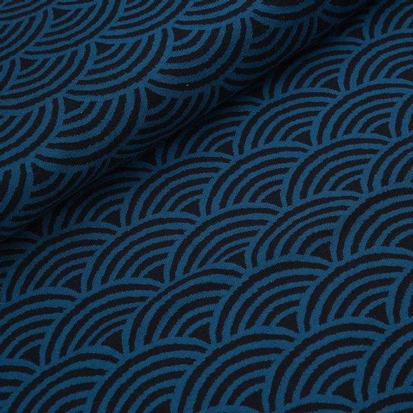 Bilde av Økologisk bomullsjacquard, regnbue svart/blå