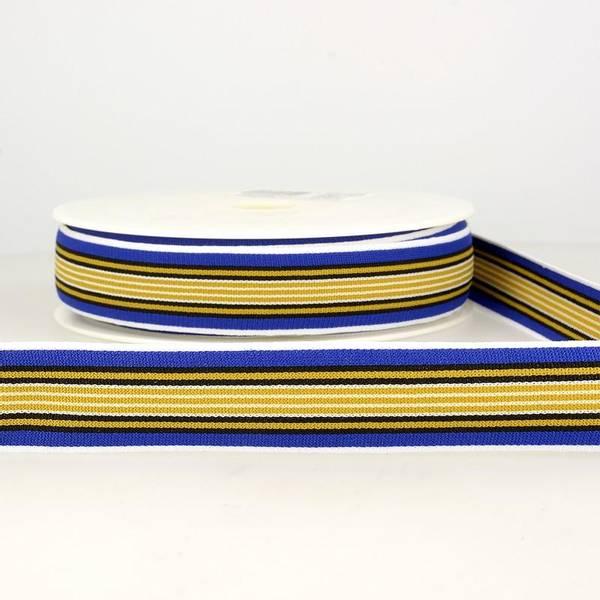 Bilde av Elastisk bånd 2,5cm bredt, striper blå/gul