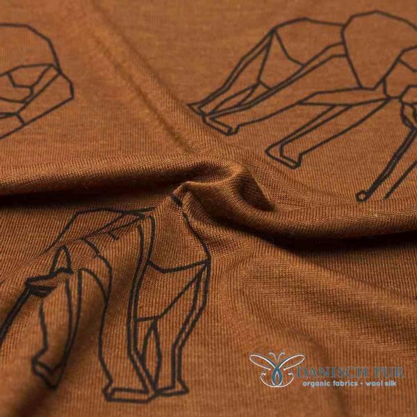 Bilde av Økologisk ull/silke, elefant kanelfarget