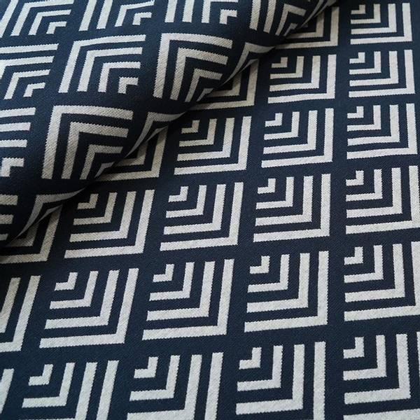 Bilde av Økologisk bomullsjacquard, kanter dark blue/grå